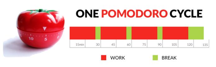 Ciclo de pausas da técnica Pomodoro é composta por 30min de trabalho seguidas de 5min de pausa até completar o final do 4 ciclo de 30min de trabalho. Ao fim do 4º ciclo realiza-se uma pausa de 30min.